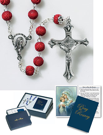 Gift Set with Carved Rose Petal Rosary