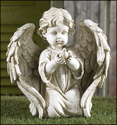 Angel Holding Dove Garden Figurine