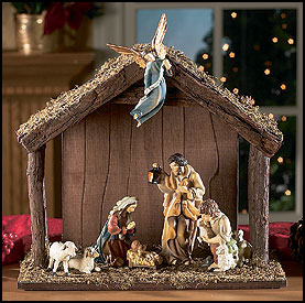 wooden outdoor nativity scene