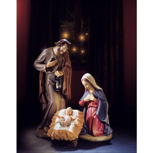"Holy Family Admires Jesus Nativity Religious Christmas: 32"" Val Gardena Holy Family Statue"