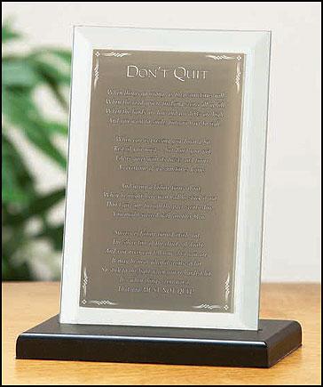Don T Quit Beveled Glass Prayer Stand