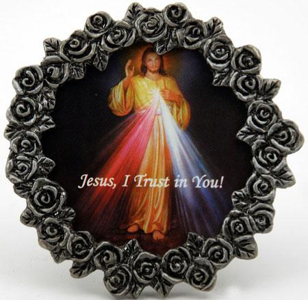 The divine mercy mini pewter frame for 18x40 frame