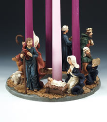 6 Quot 3 Pc Hand Painted Resin Nativity Advent Wreath