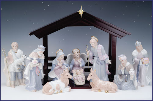 10 Pc 9in Underglazed Porcelain Nativity With Gold