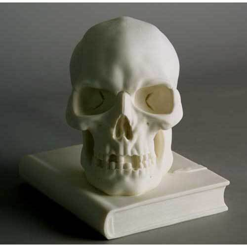 Skull On Book 8 H Marble Statue